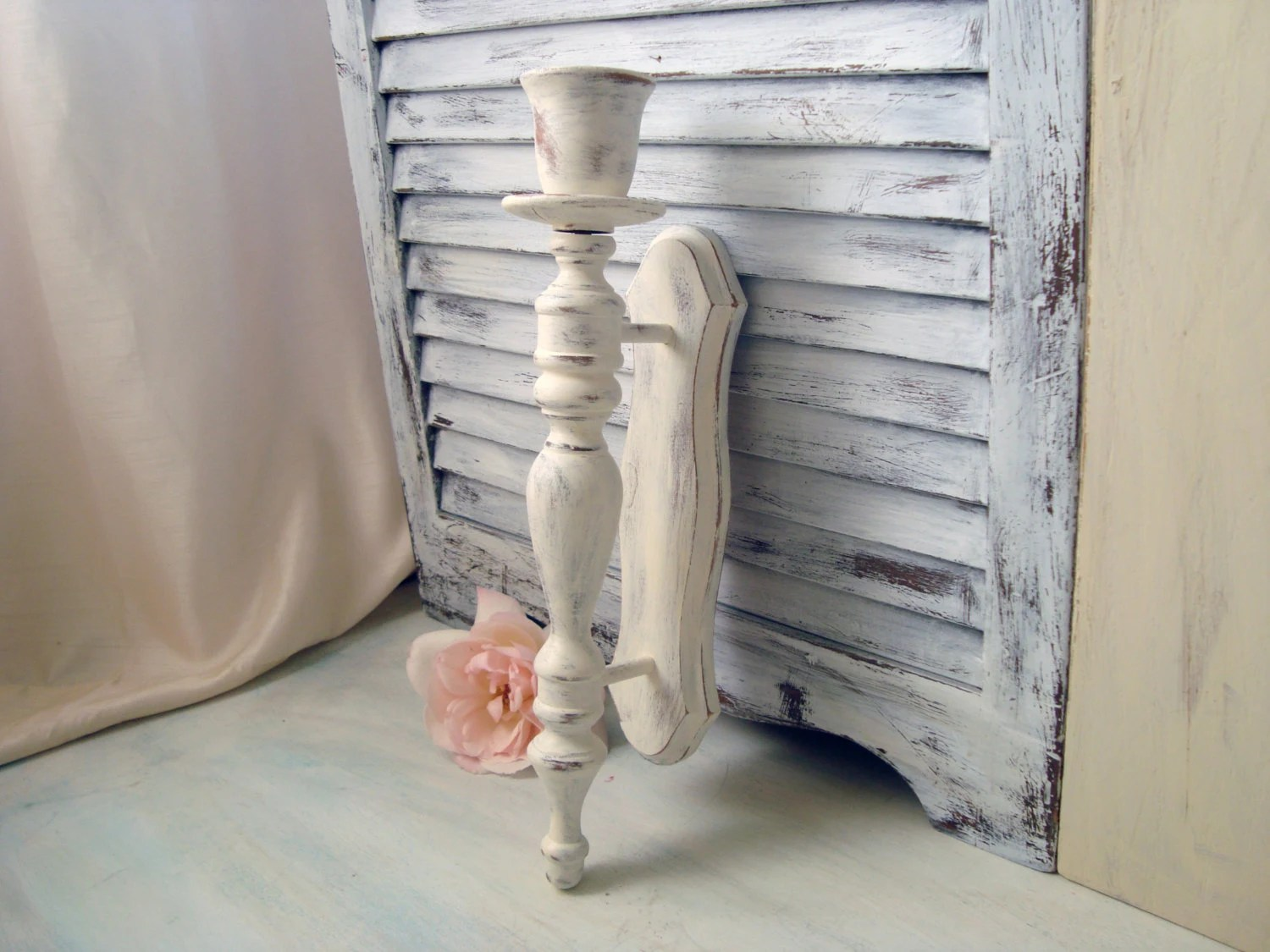 White Vintage Candle Wall Sconce Distressed Antique White on Vintage Wall Sconce Candle Holder Decorating Ideas id=61975