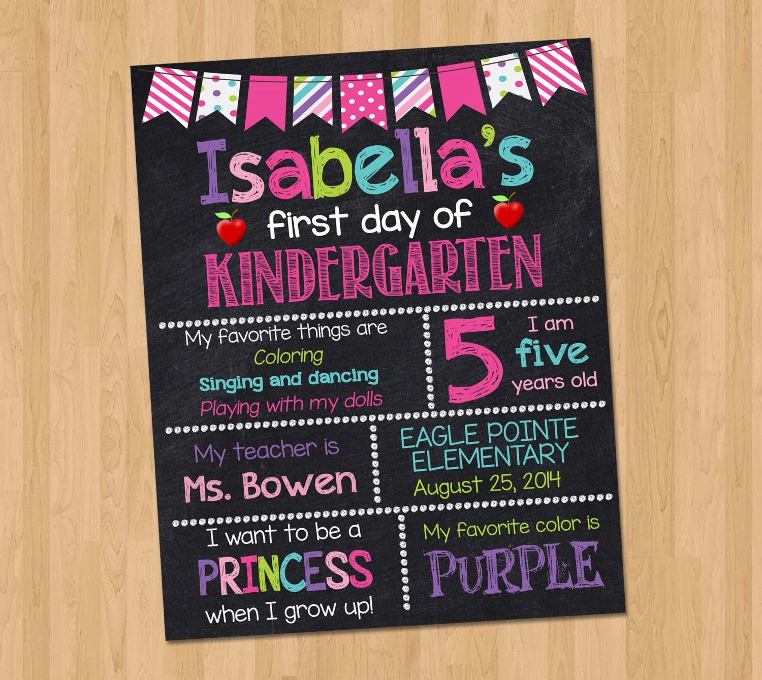 First Day Of Kindergarten Sign First Day Of School