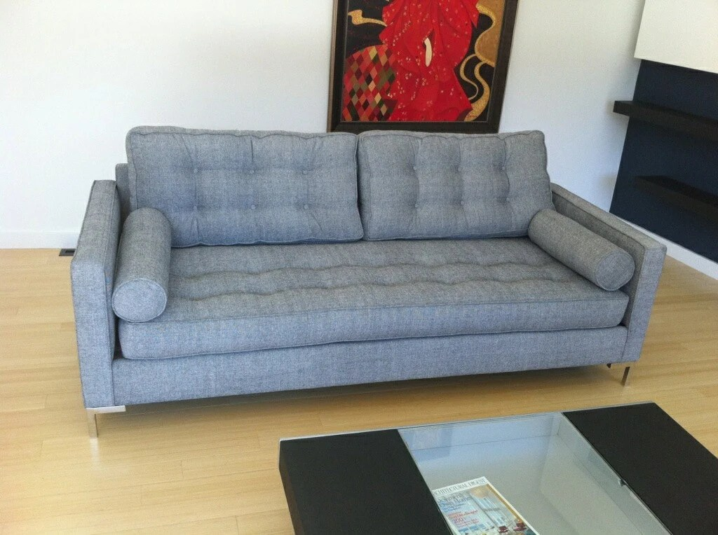 Mid Century Florence Knoll Style Button Tufted 3 Seat Sofa