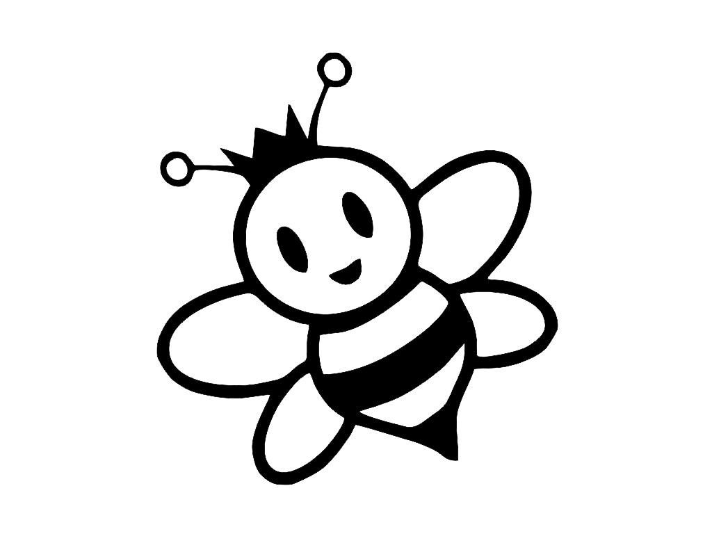Cute Bee With Crown Custom Cut Vinyl Decal Sticker