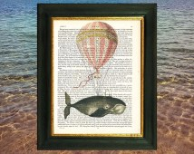 Vintage balloon carrying a whale. Art print on vintage encyclopedia page  *212 year old paper*