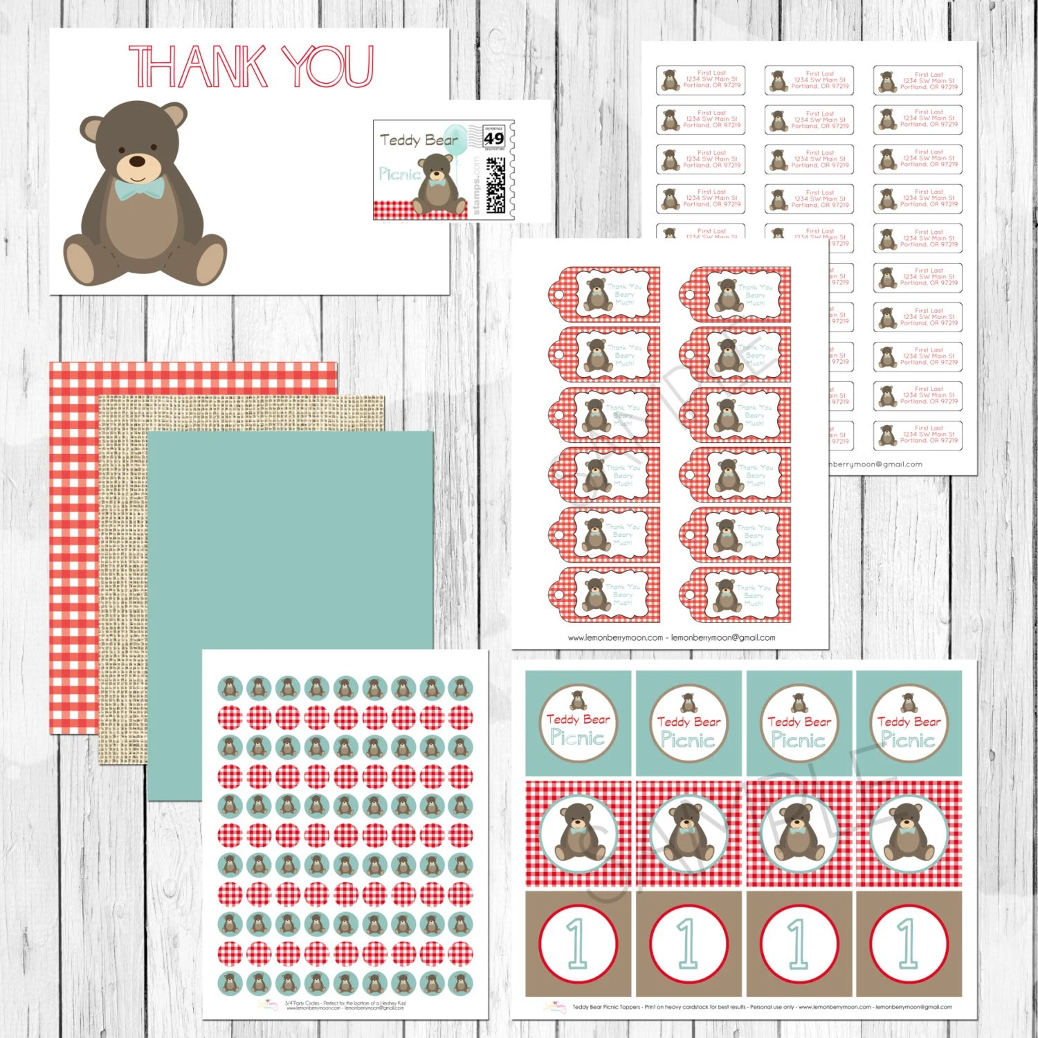 Teddy Bear Picnic Printable Party Package By Lemonberrymoon