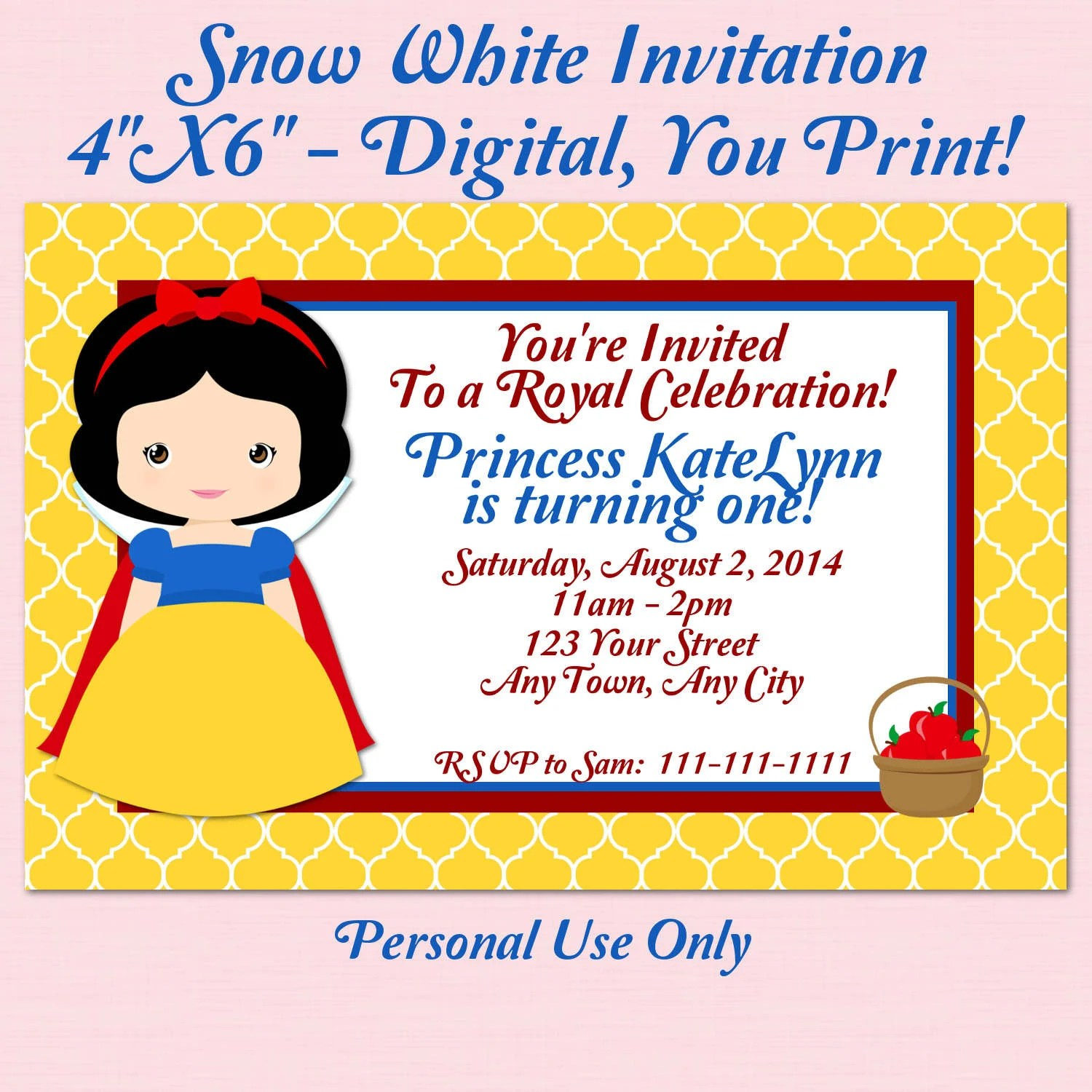 Printable Snow White Birthday Party Package By