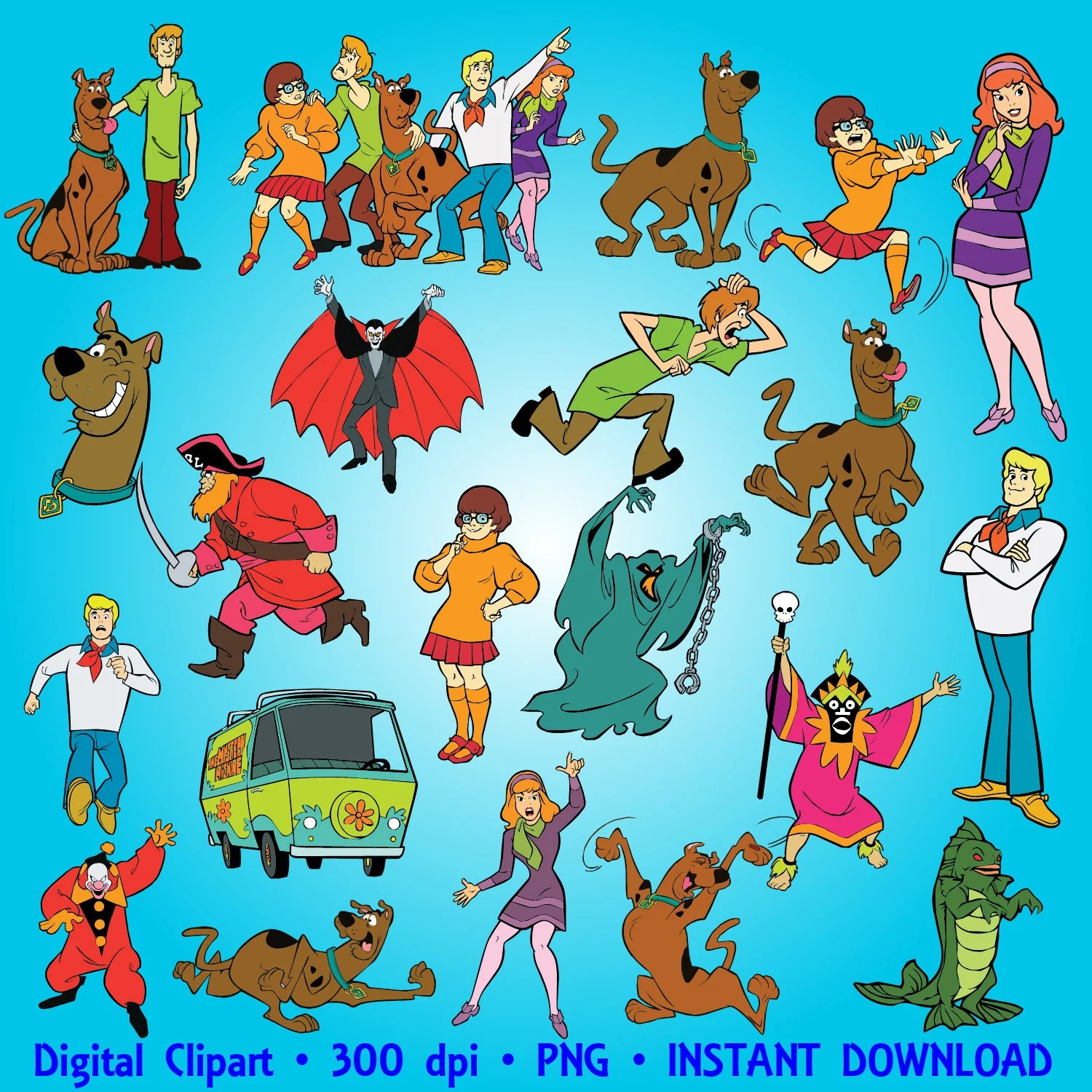 Scooby Doo Clipart Party Digital Clipart Set By