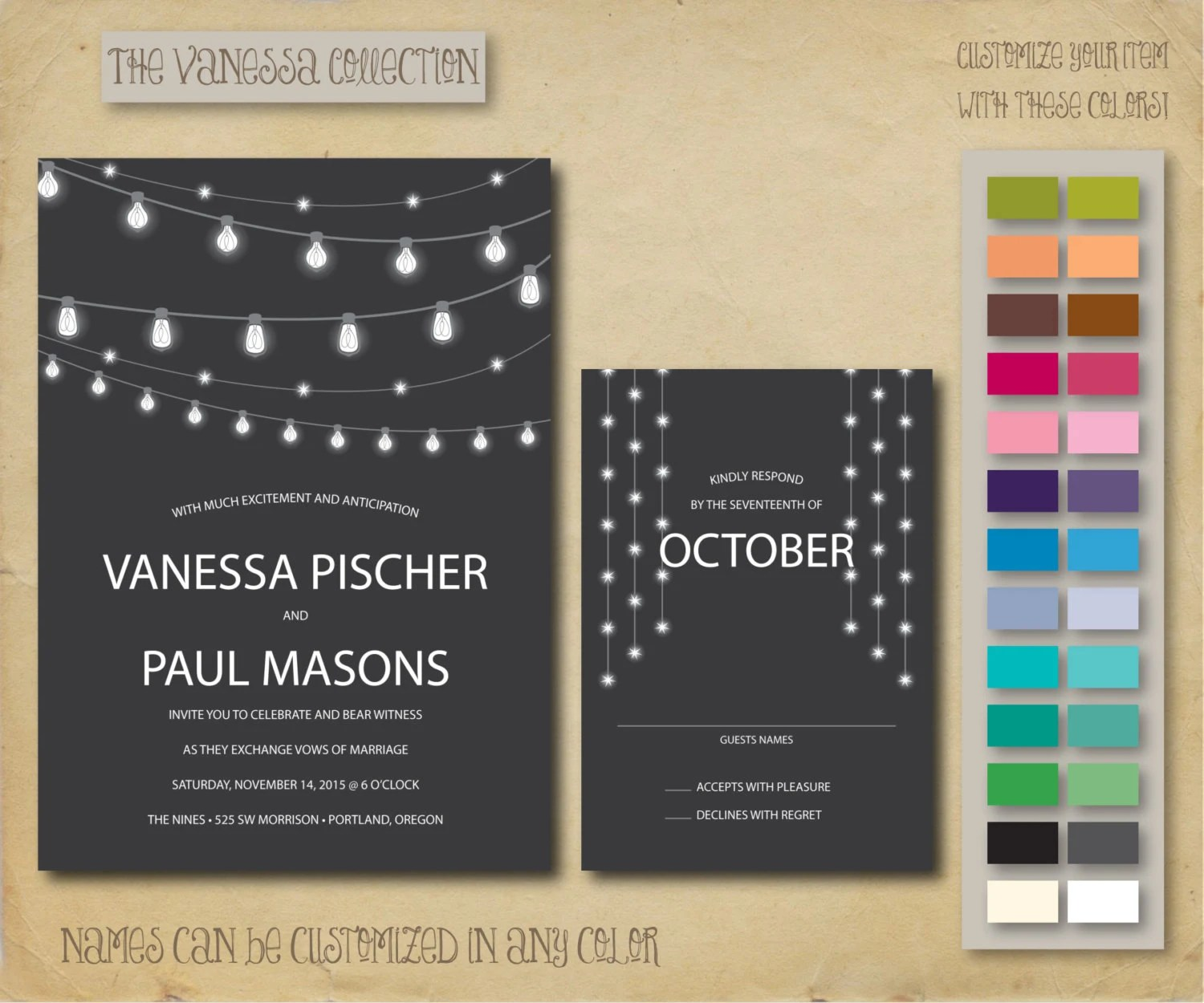 the vanessa wedding invitation and rsvp card set onepaperheart