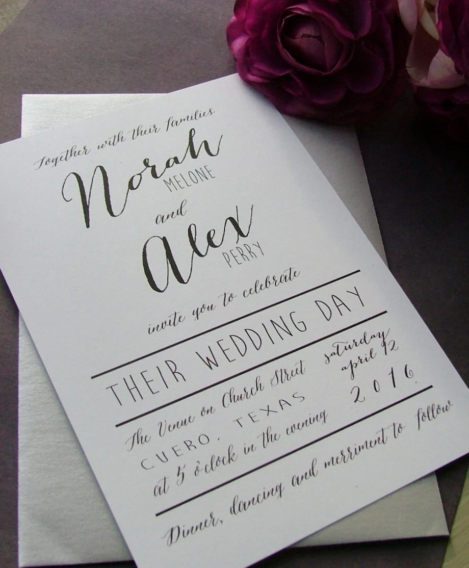 Black And White Modern Wedding Invitations: Simple Wedding