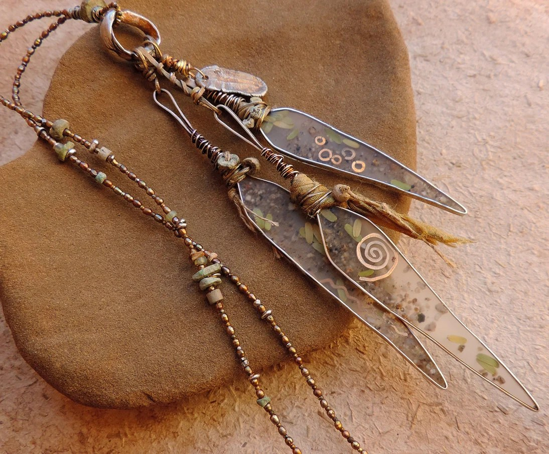 Resin And Silver Willow Leaves Talisman By Deserttalismans