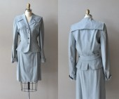 Cloud Fare suit • wool 1940s suit • vintage 1950s suit