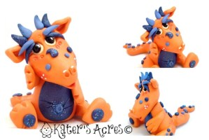 """Juice"" the Polymer Clay Dragon by KatersAcres 