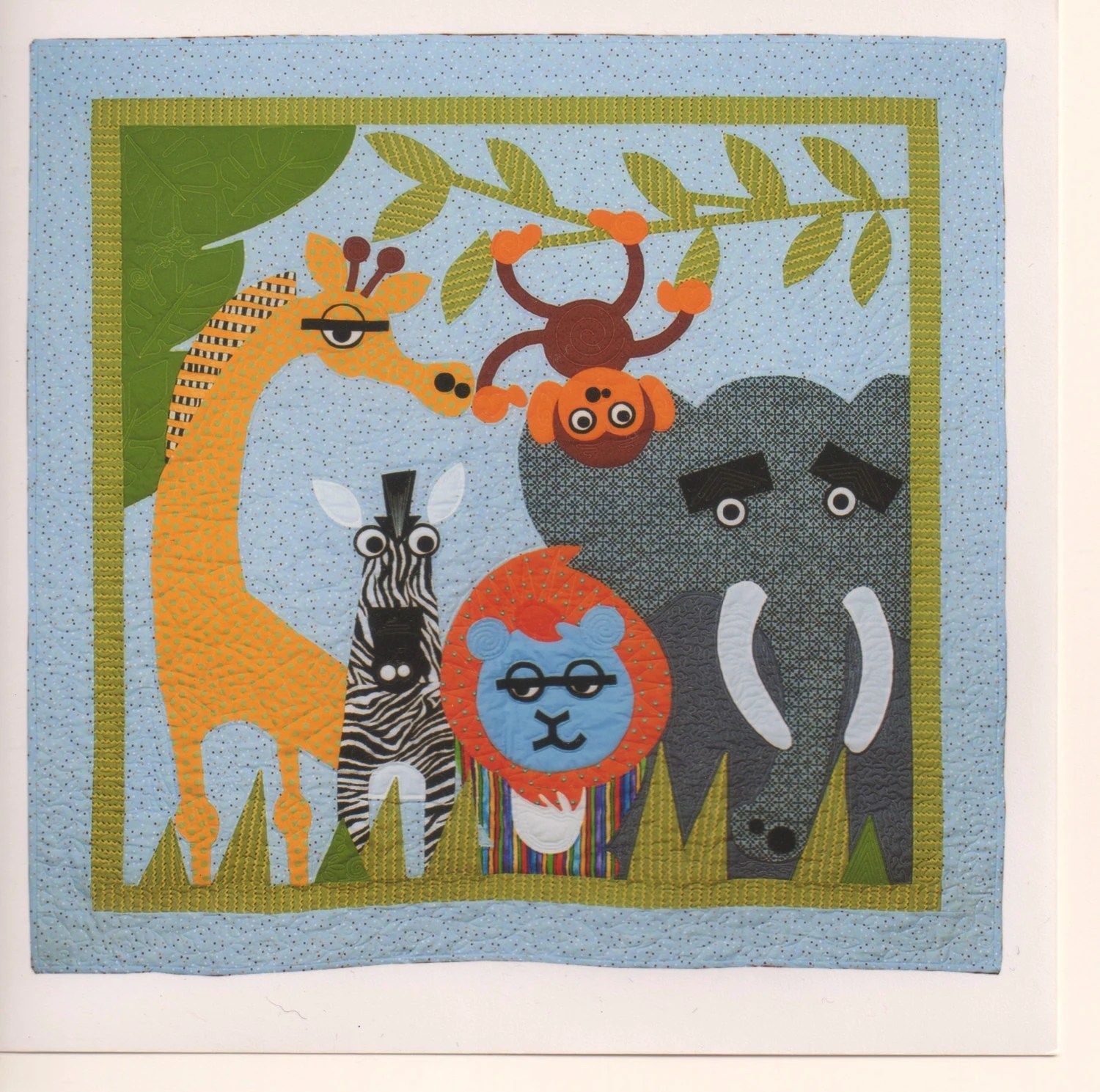 Jungle Animal Applique Pattern Wall Hanging Full Size Baby