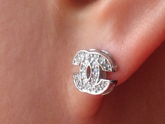 Chanel Style Earrings Sparkly CZ Diamond 14K White Gold