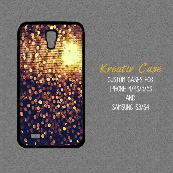 Samsung Galaxy S3, Pretty Samsung S4 case, glitter headlights - iPhone 5s case, phone cover, Gold Glitter Custom iPhone 4 case- K015