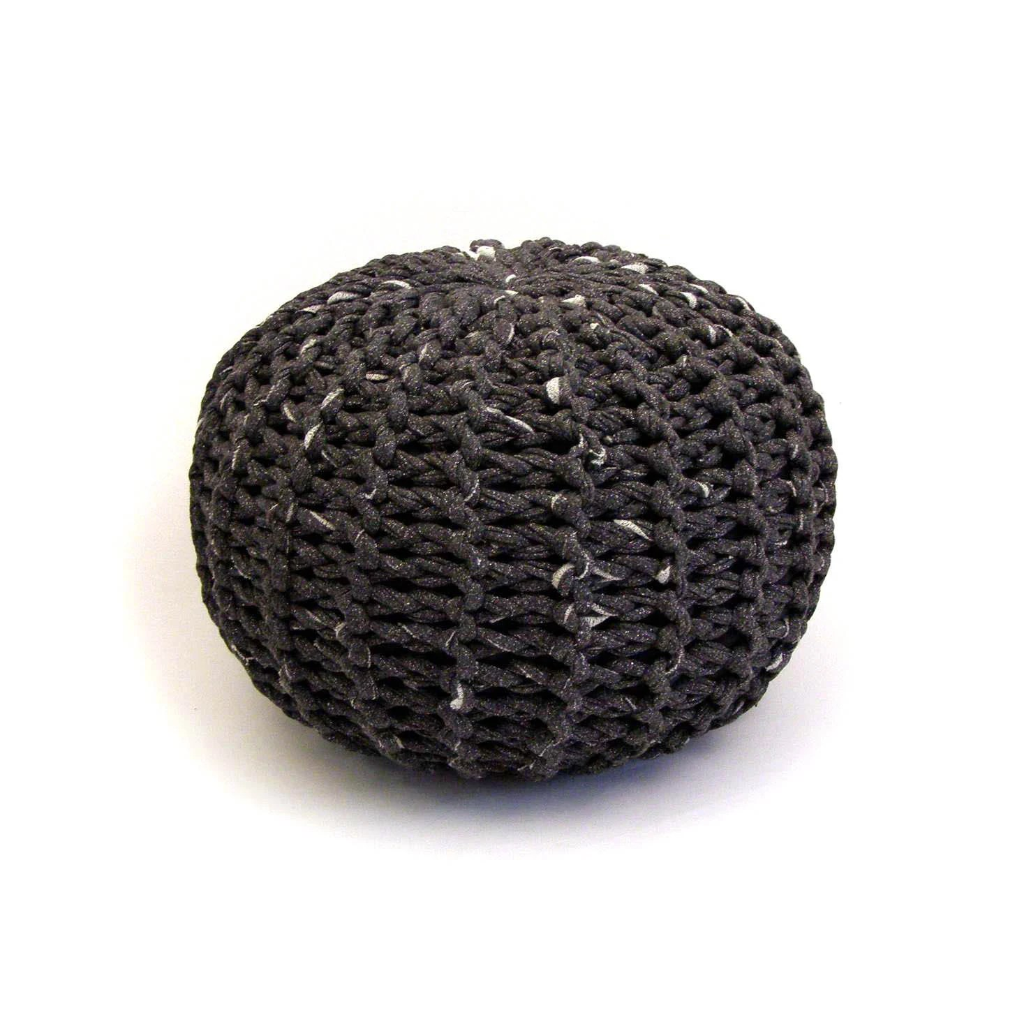 Small soft charcoal handmade knitted pouf - tayostudio