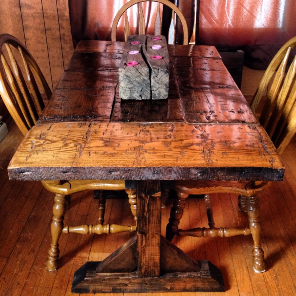 Items Similar To Reclaimed Hand Hewn Harvest Table Dining