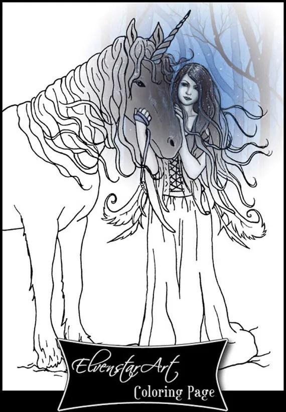 coloring page printable gothic fairy unicorn fantasy art