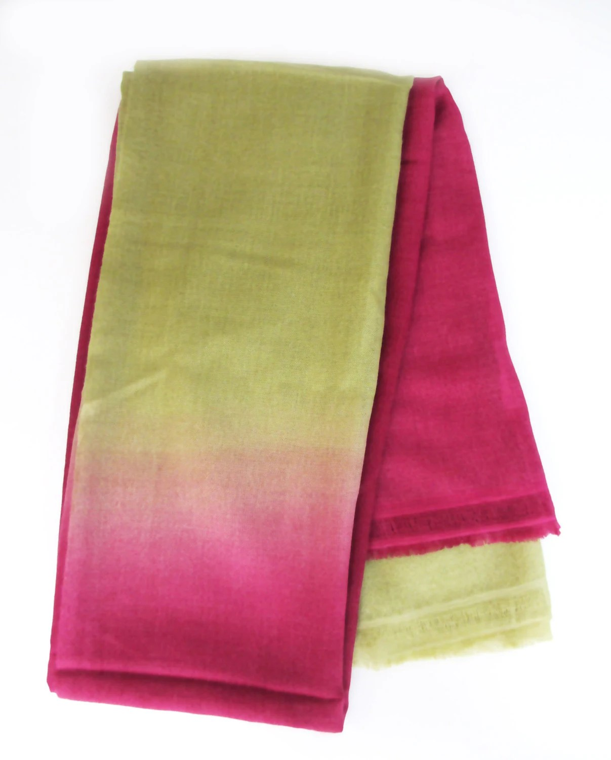 Pink and green ombre 100% pure cashmere hand-made and hand-dyed pashmina shawl scarf - SHISHIDO