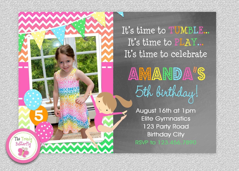 Birthday Invitations Gymnastics Party