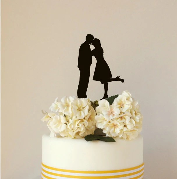 Custom Silhouette Wedding Cake Topper, Acrylic Cake Topper, made from your photograph by Wedded Silhouette