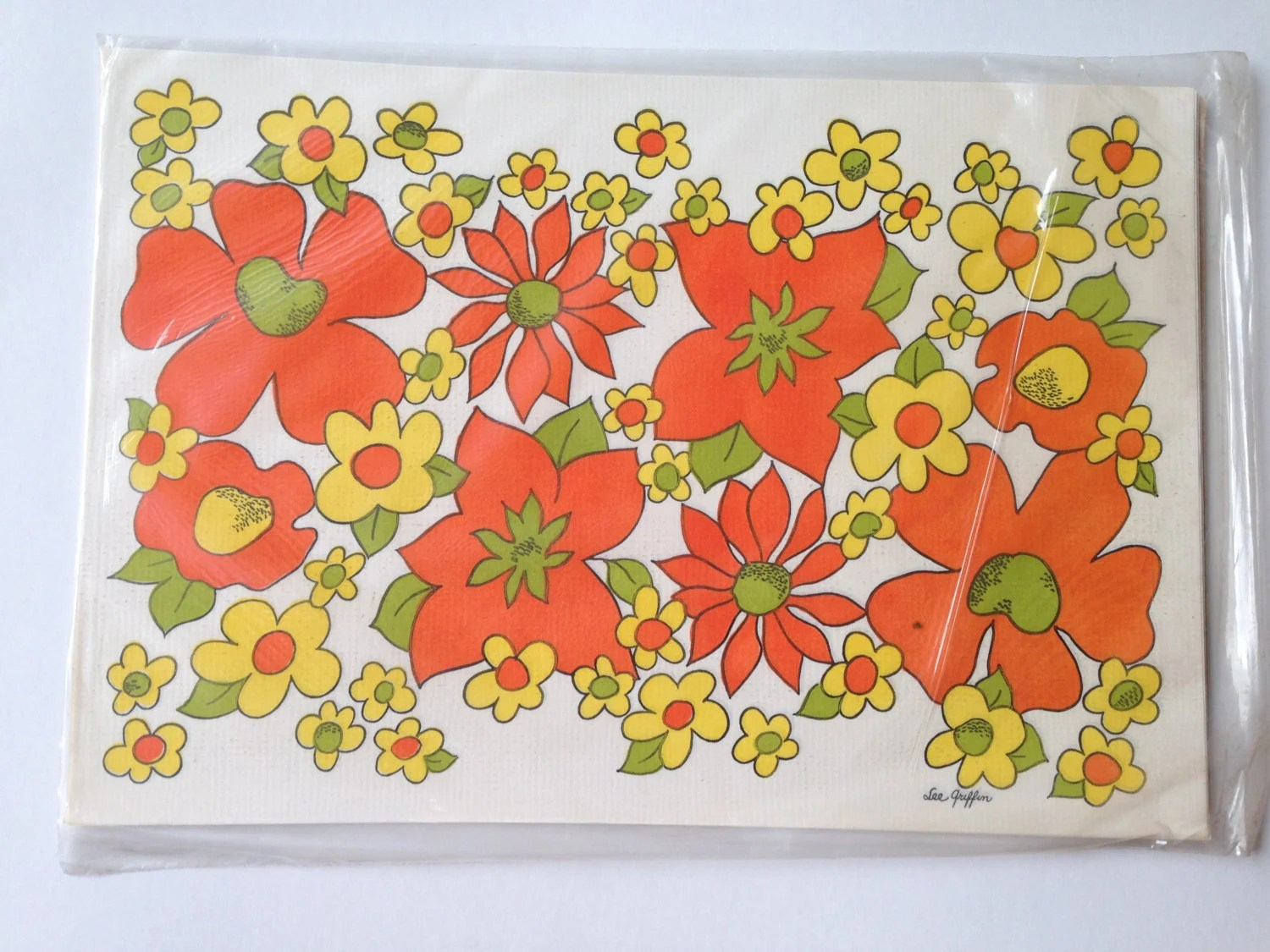 vintage paper placemats by monogram of california  u2013 groovy orange  yellow and green floral