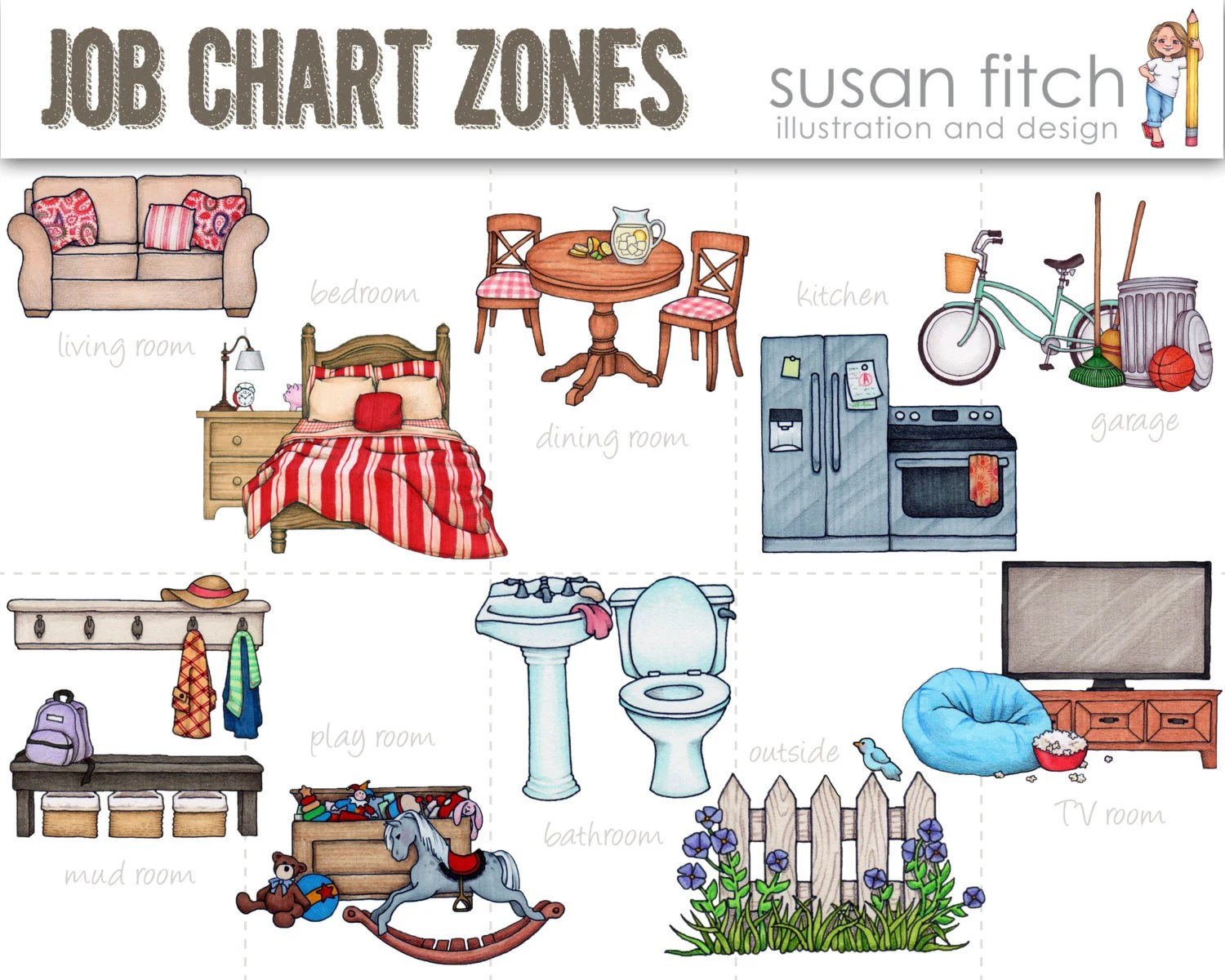 Chore Chart Cleaning Zones Clip Art