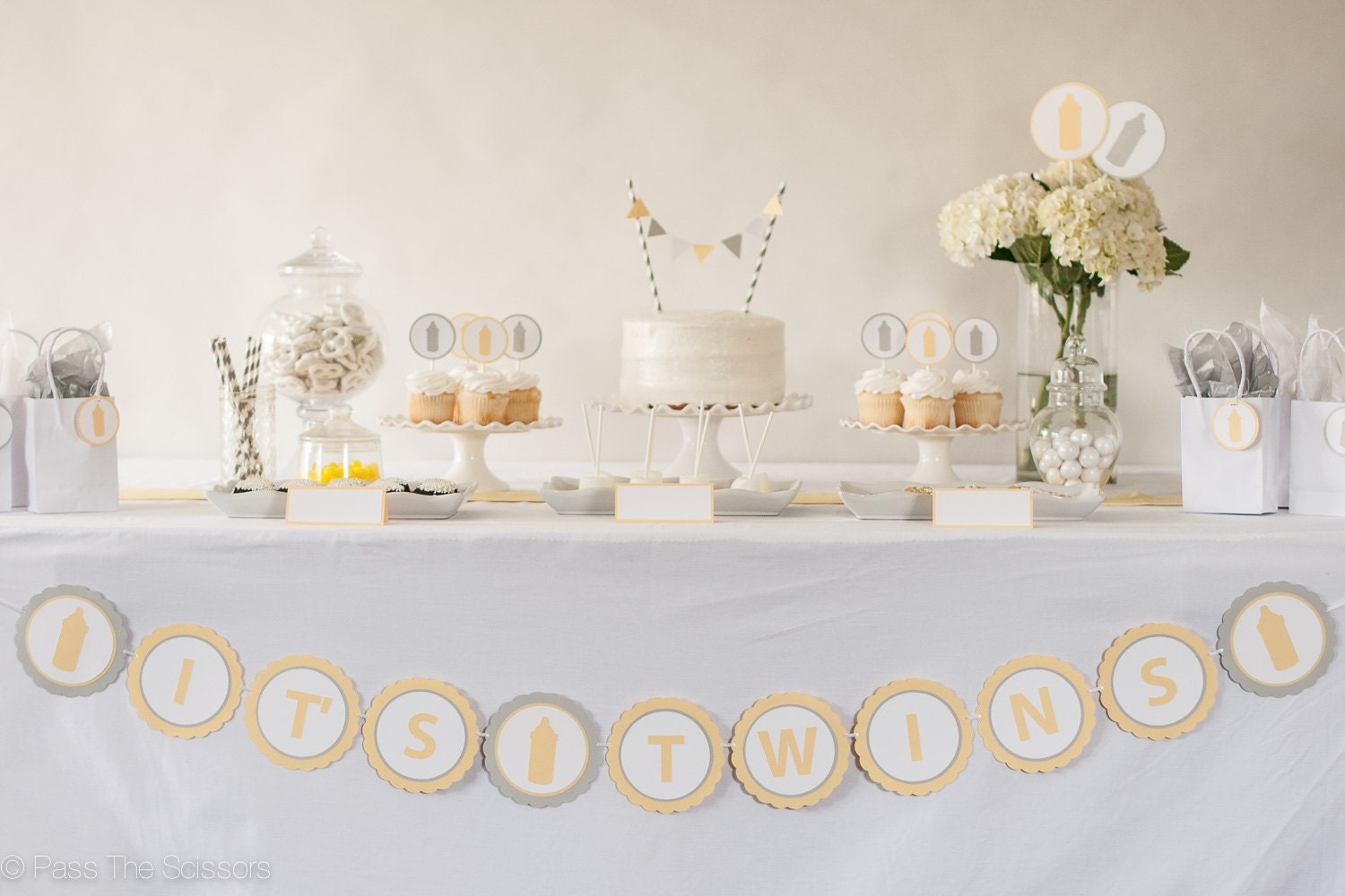 Yellow Gray White Baby Shower