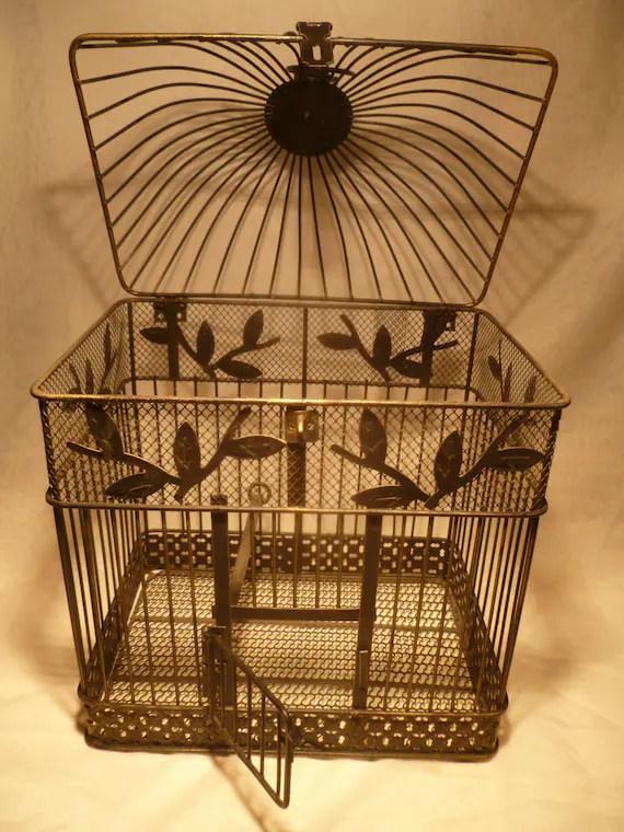 Vintage Birdcage Bird Cage Metal Antique Gold Black Hinged