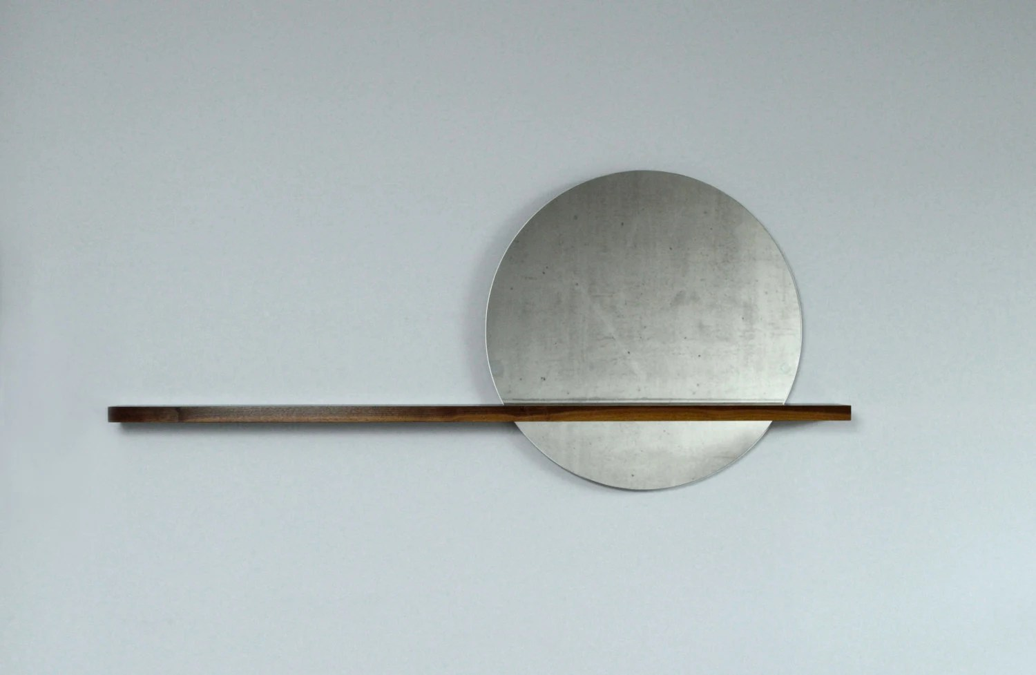 Rise/Set Mirror 24 Round Mirror And Solid Wood Shelf