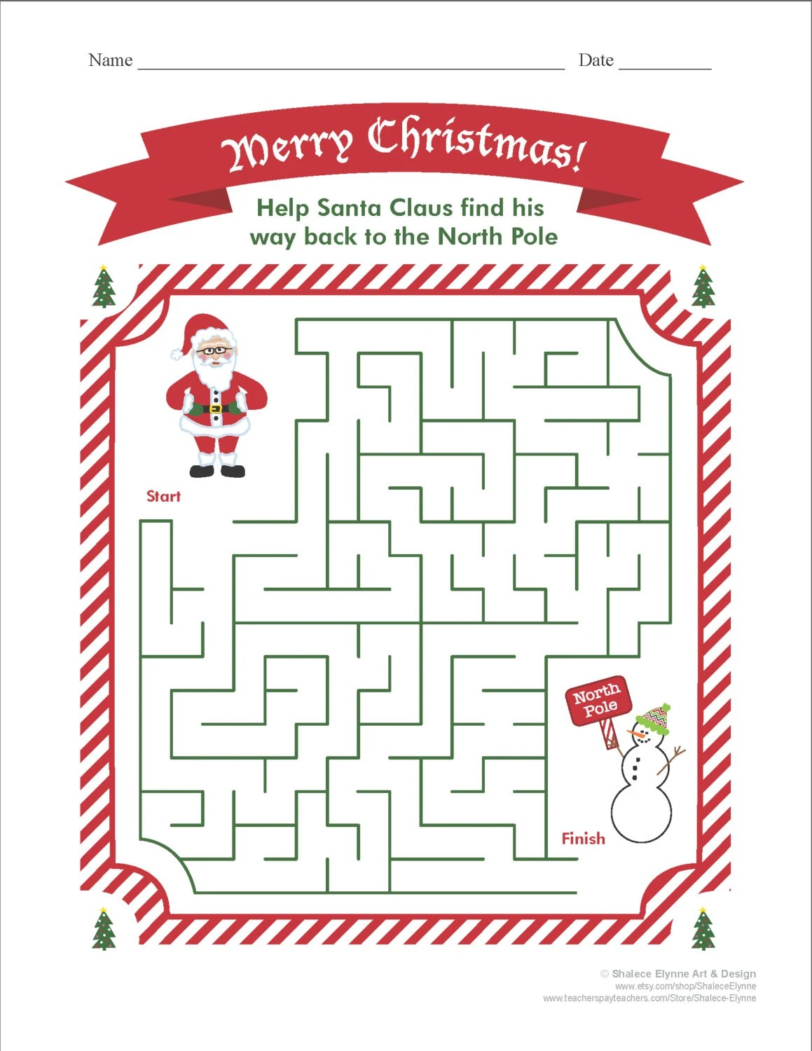 Christmas Maze Printable Game Instant Download