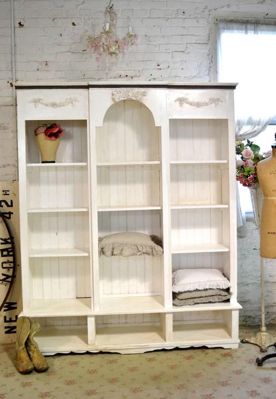 Painted Cottage Shabby White Farmhouse China Cabinet Bookcase