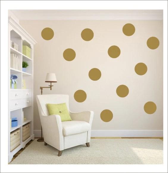 Gold Polka Dots Vinyl Wall Decals Gold Decals Gold Dot Stickers Polka Dot Wall Vinyl Decor Housewares