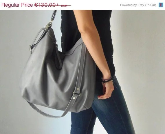 Grey leather shoulder bag - Leather hobo purse - Soft leather bag -  MEDIUM - Ready to ship