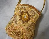 Vintage Small Indian Bead Bag - Cocktail Evening Dinner Gold Sequin and Beads Bag- Unused - KeepItCasual
