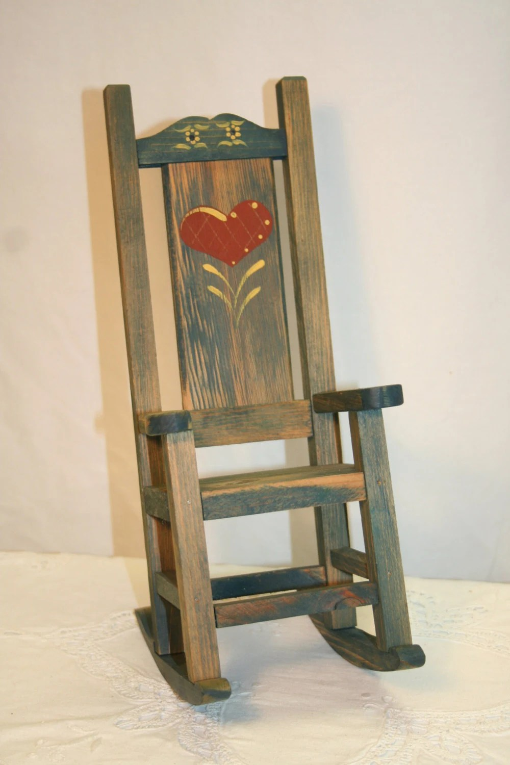 Vintage Wood Doll Rocking Chair Rocker Red Heart