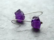 Purple earrings, purple amethyst, rough raw amethyst, genuine amethyst, gemstone minimalist, dangle, amethyst earrings, amethyst silver