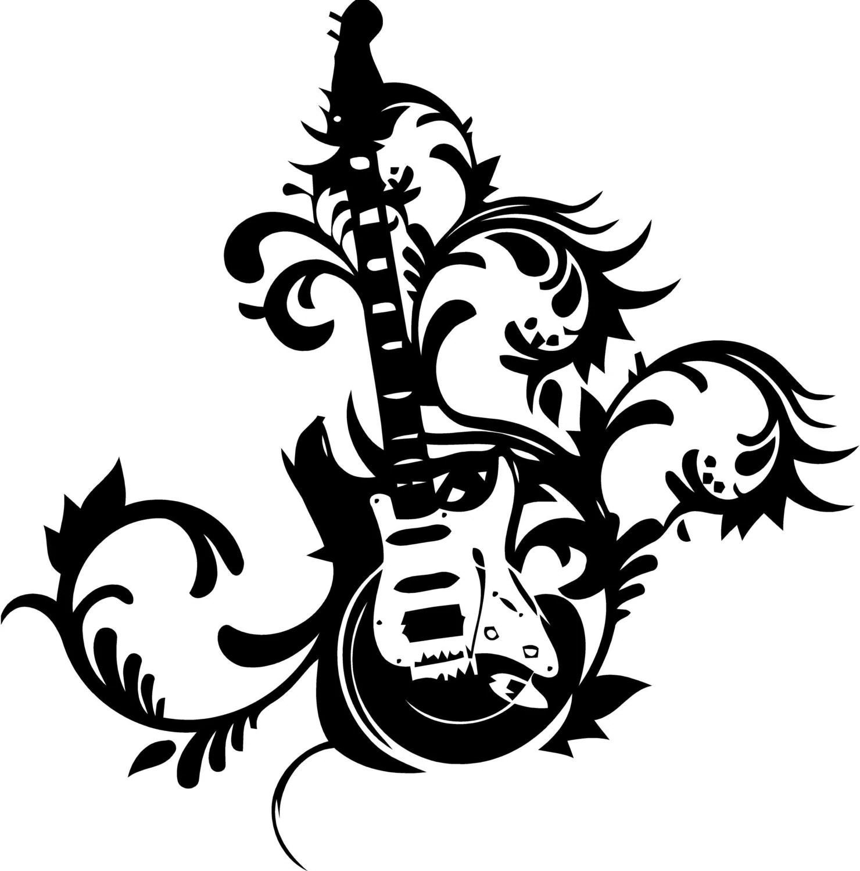 Fancy Guitar Vinyl Decal Sticker