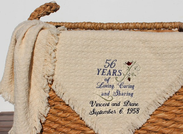 Personalized Anniversary Embroidered Throws and Blankets