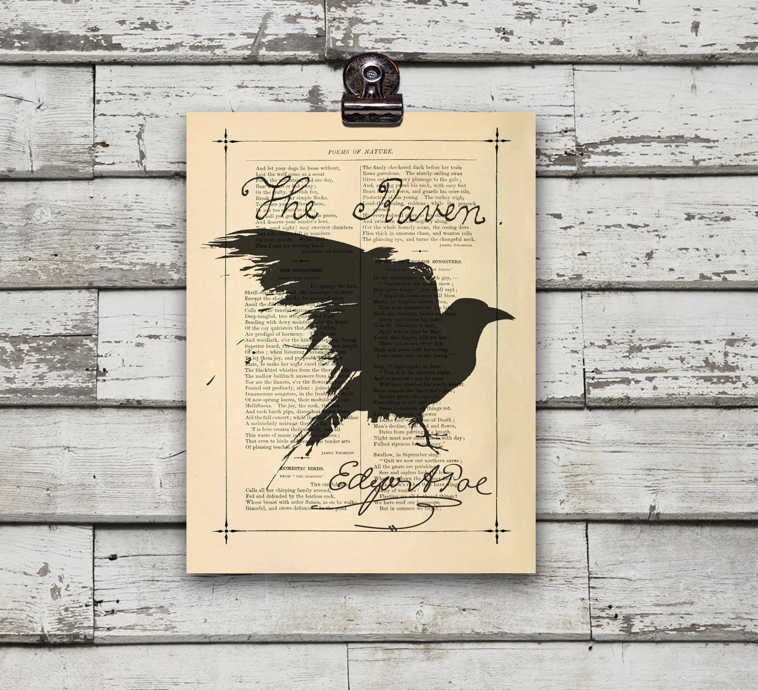 The Raven Nevermore Poem Poster Print Recycled By Eebookprints