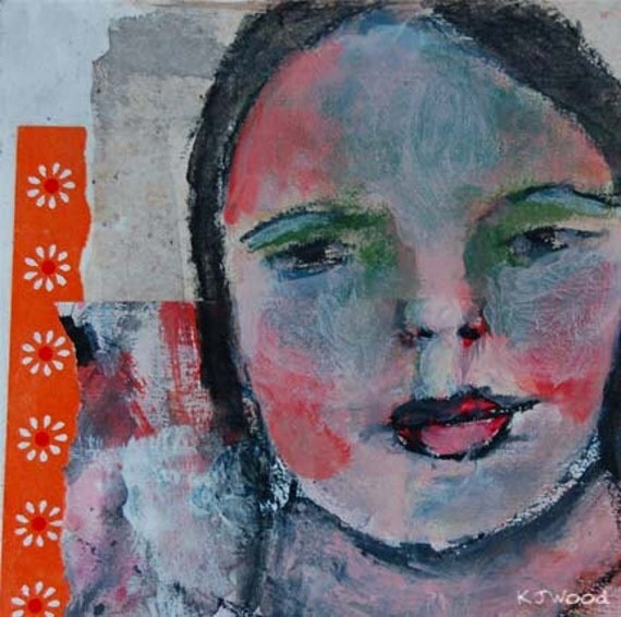Acrylic Portrait Painting, Collage, Girl, Face, Orange, Flowers, Abstract, 6x6 canvas panel, Free Shipping USA