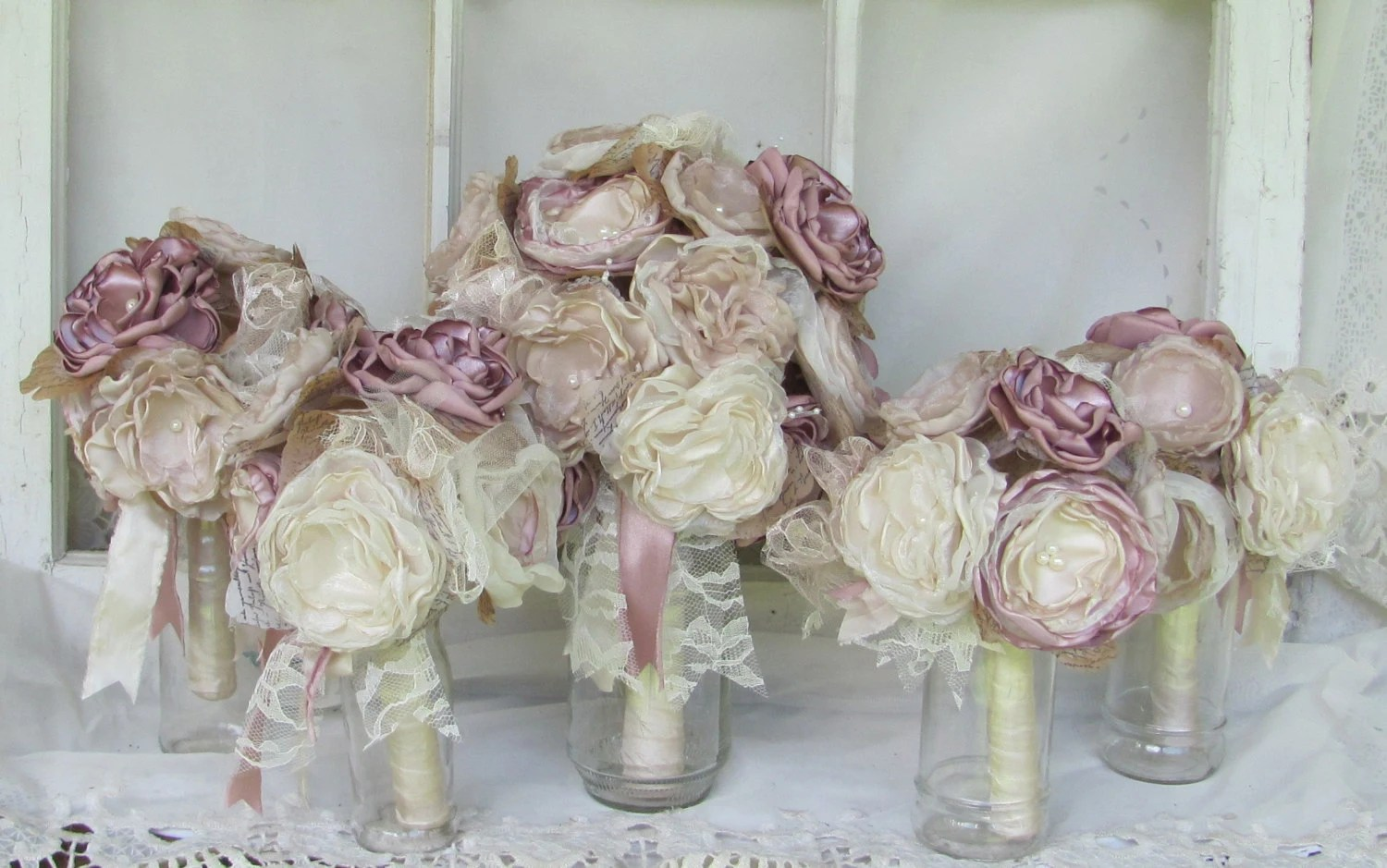 Bridal Bouquet Package Dusty Rose With 4 By