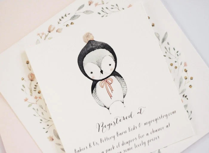 Sweet Winter Owl - Baby Shower Invitation