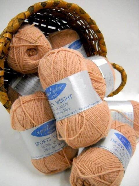 Vintage Sport Weight Yarn, Acrylic Yarn, Knitting Notions, Tan Yarn by Nomis - StitchKnit