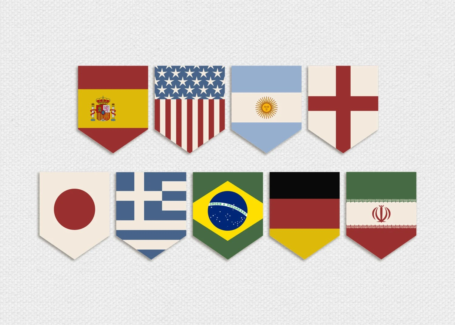 Items Similar To Printable World Cup Country Flags Pennant