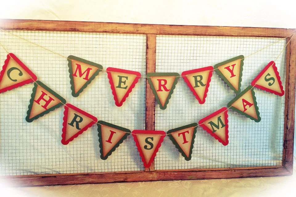 Antique Merry Christmas Banner