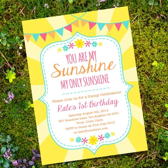 Birthday Invitations You Are My Sunshine