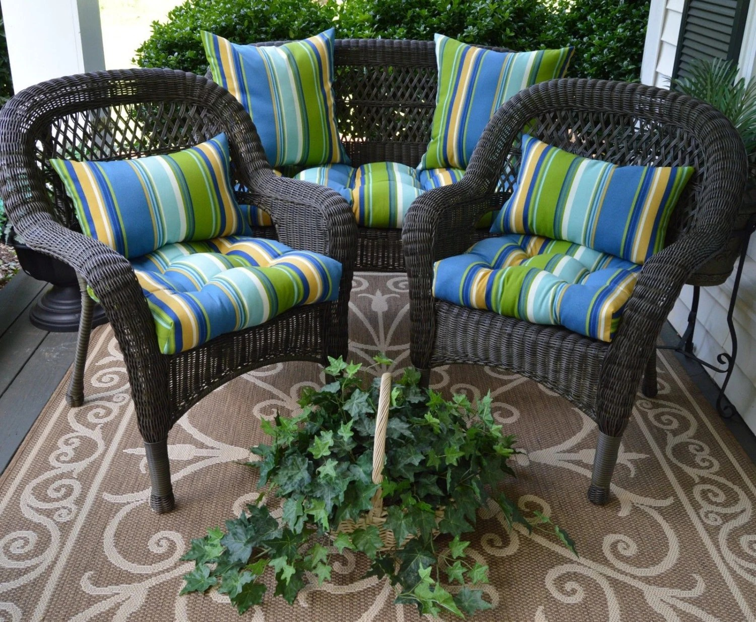 Wicker Cushion & Pillow 7 PC Set Blue Green And Yellow