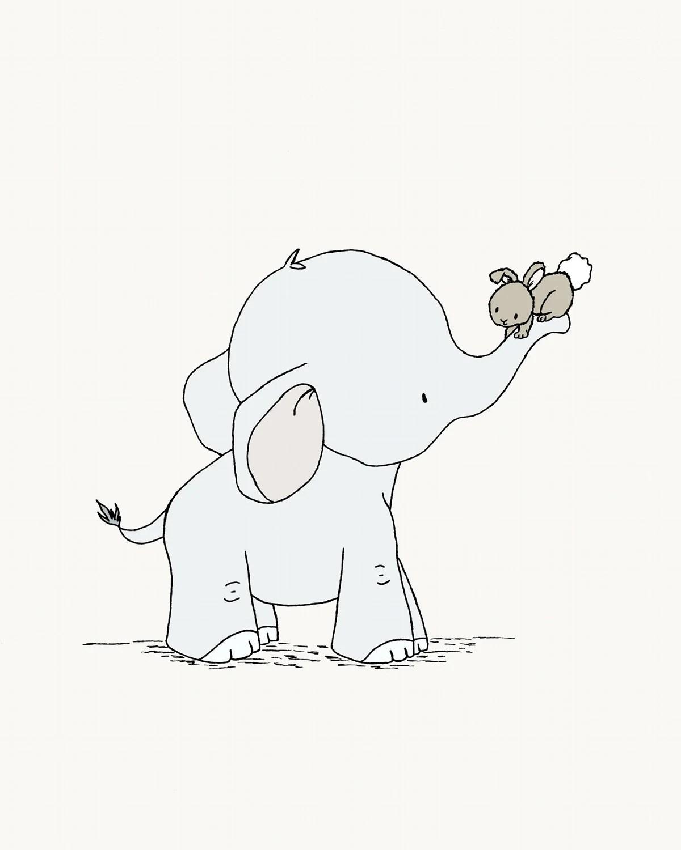 Elephant And Bunny Nursery Art Hold On Tight Elephant