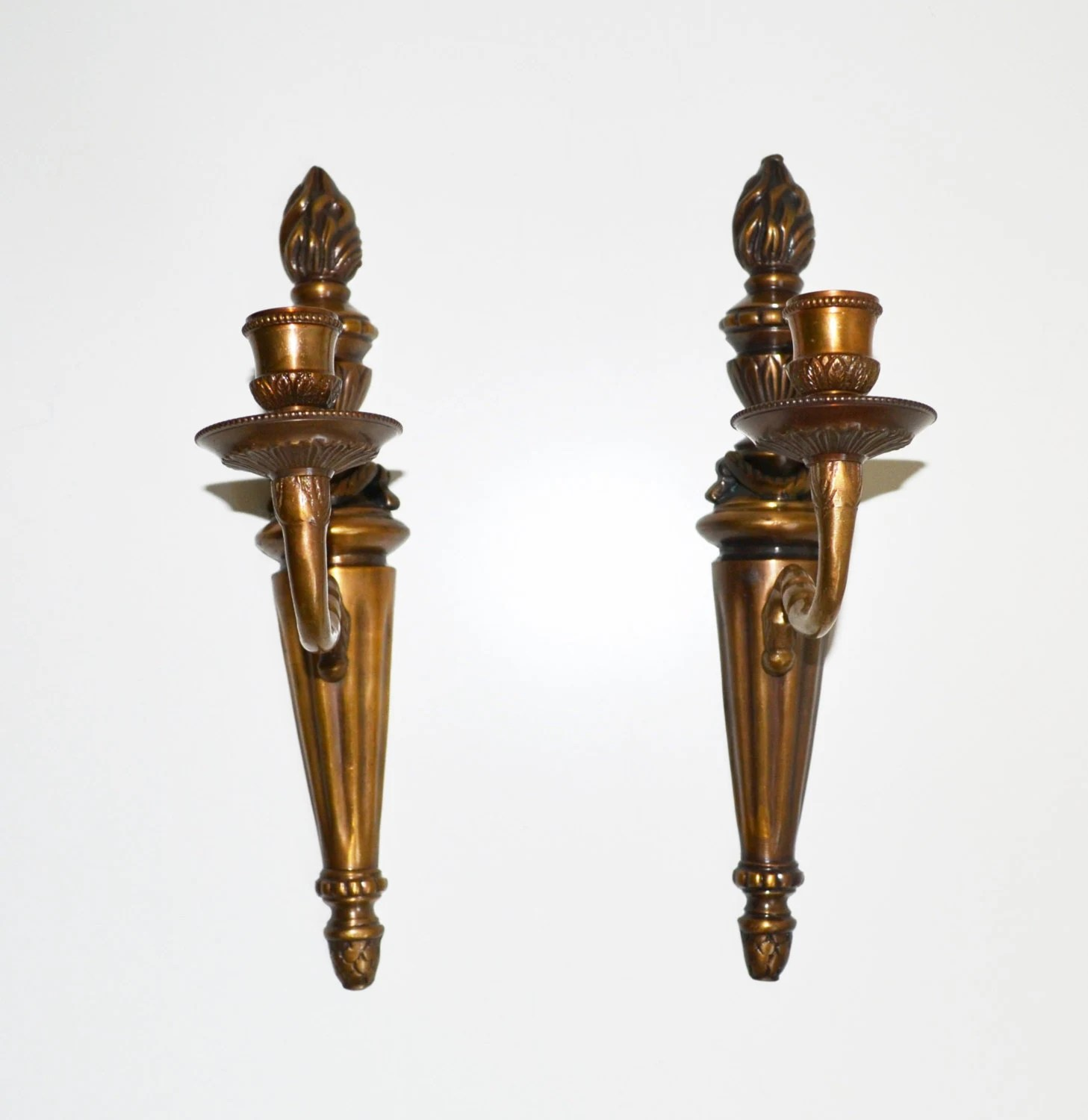 Vintage Brass Candle Wall Sconces Candle Holders by ... on Wall Sconces Candle Holders id=87443