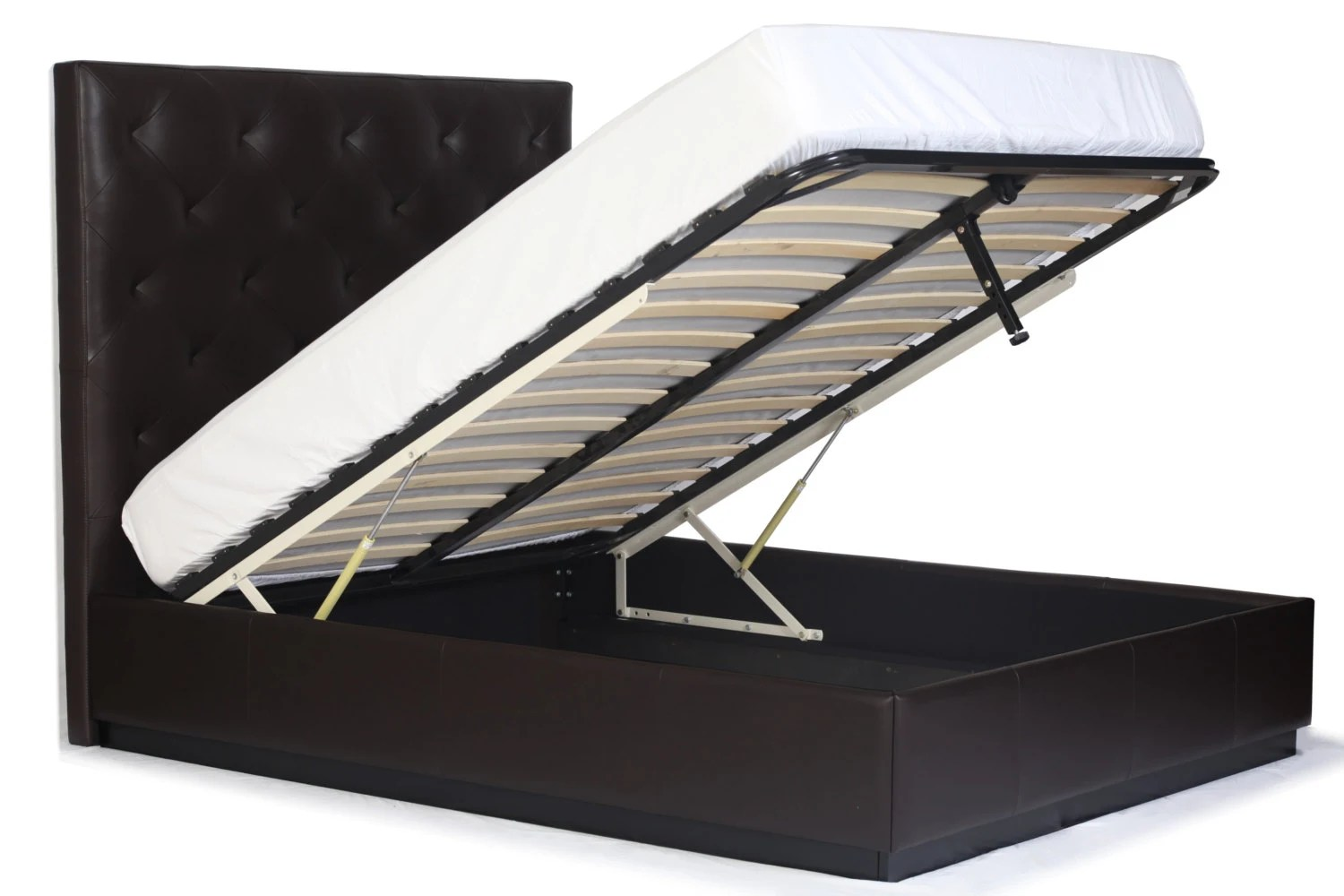 Queen Size Gas Lift Storage Bed With Diamond Tufting Genuine