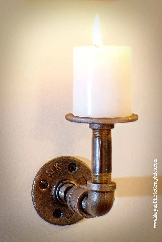 Items similar to Industrial Pipe wall mount Candle holder ... on Wall Mounted Candle Holder id=36204