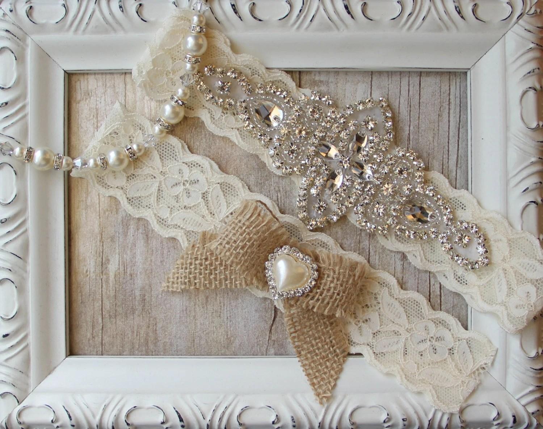 Rustic Wedding Garter Set Burlap Wedding Garter By